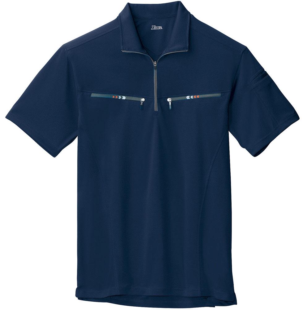 両胸ポケット付きで吸汗速乾のファスナー半袖ポロシャツを通販